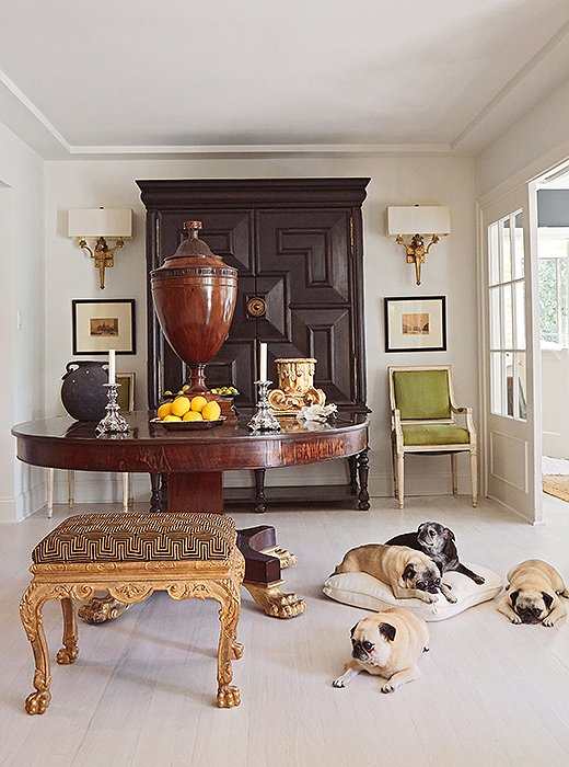 Mary McDonald shares her L.A. home with a happy pack of pugs: Jack, Lulu, Boris, Eva, and Violet.