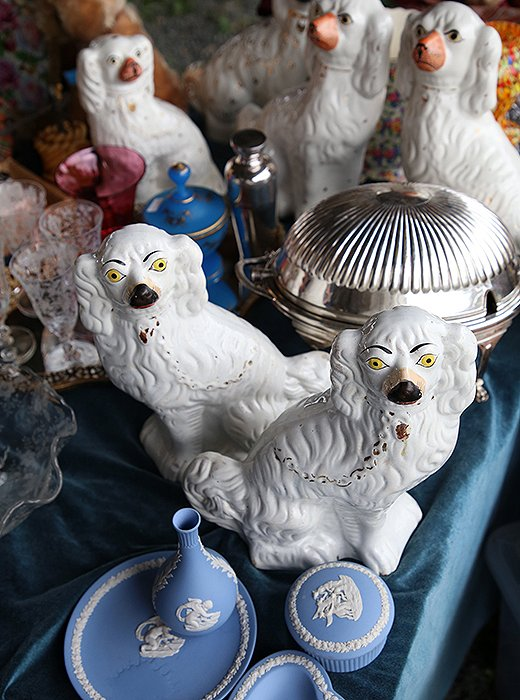 Staffordshire dogs, Wedgwood pieces, etched glassware, sterling bud vases… part of the beauty of antiquing is that you never know what you're going to find!