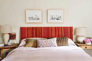 Pink Comes Into Play Yet Again On The Bedroomu0027s Headboard, Crowned With A  Pair Of