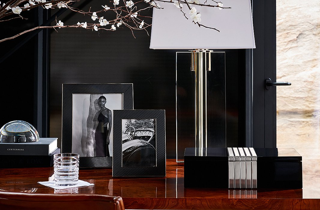 Lighting and accents from the Modern Icons collection by Ralph Lauren Home, including the Paxton Extra-Large Box.