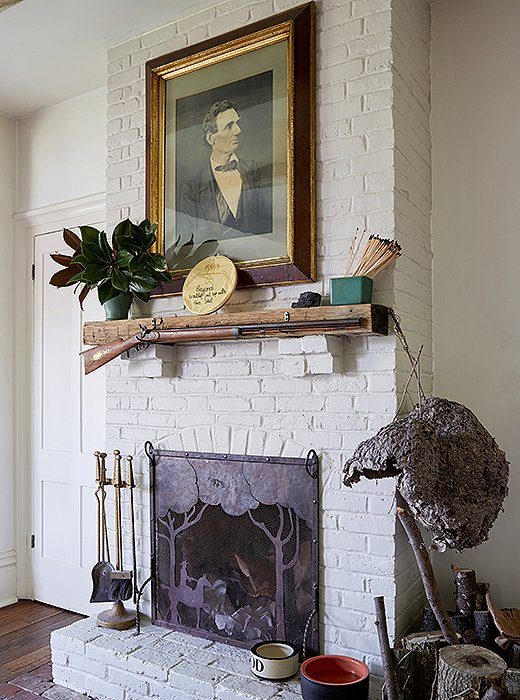 The home was commissioned by Madison C. Johnson, a confidante of Abraham Lincoln. It's fitting, then, that his portrait hangs above the kitchen's mantel.