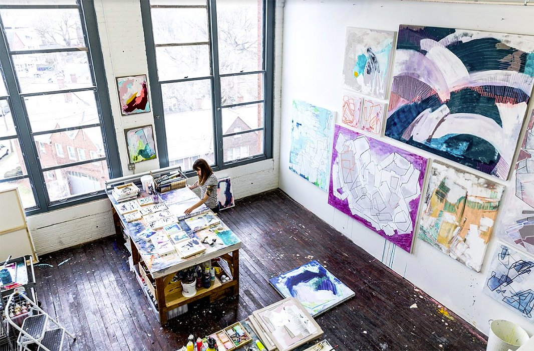 Colletta at work in her Connecticut studio.