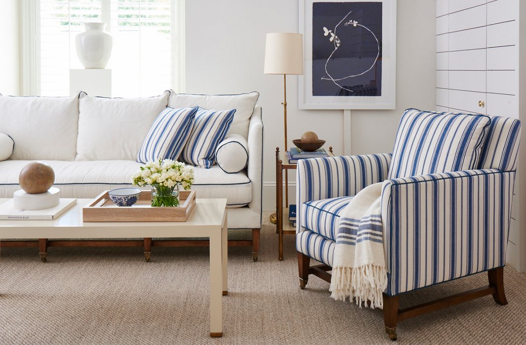 Mark's Brentwood collection has an airy feel, with streamlined silhouettes and plenty of stripes.
