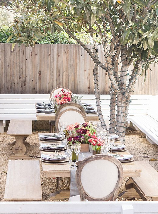 A table set by Alice for a private event at the Montecito Country Mart.