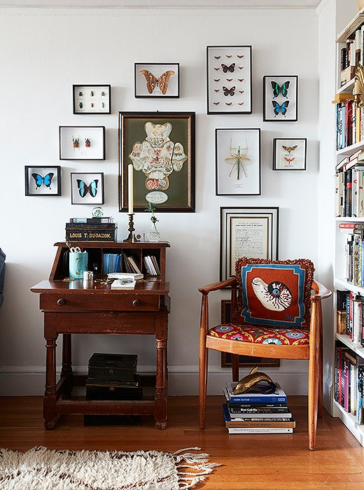 """""""We're fortunate in that we've inherited a lot of things from our parents,"""" says Bobby, """"so there are a lot of pieces in the apartment that have meaning for both of us."""" Above, a desk from Matt's childhood home is surrounded by butterflies and bugs from Deyrolle in Paris. A tin box, which once housed Bobby's mother's collection of Richard Ginori china, sits on top."""