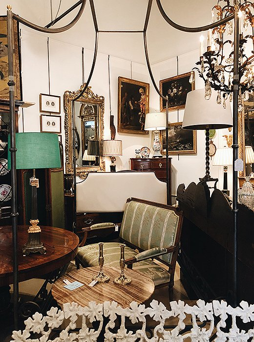 Framed oil paintings, crystal chandeliers, iron canopies: The antiques at Wynsum have a genteel Southern elegance.