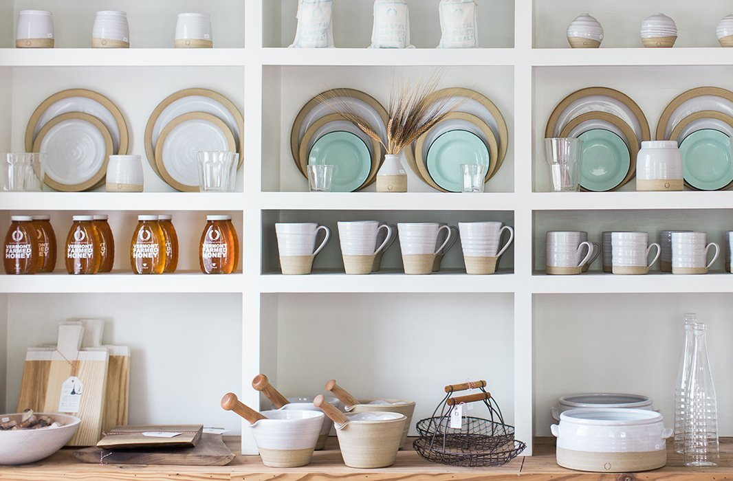 Handmade wares—each one slightly different from the next—on display at Farmhouse Pottery's Woodstock store.
