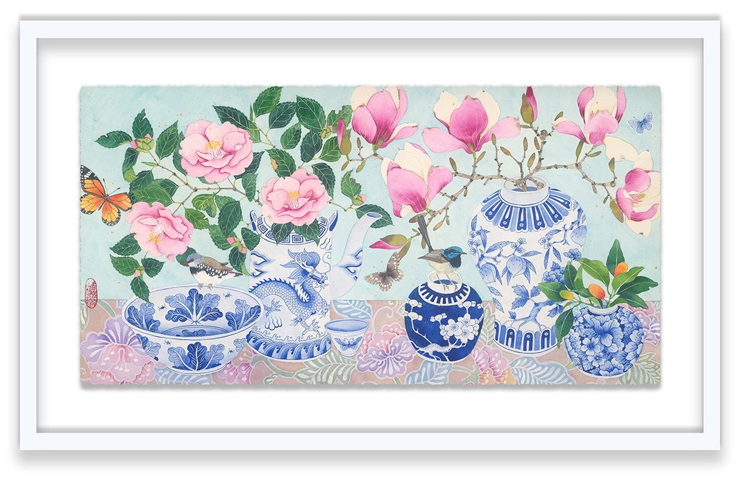 "Lavish II by Gabby Malpas. ""The Lavish pieces are purely joyful images: a celebration of spring flowers, blue-and-white ceramics, and batiks, with pink as the underlying color,"" Gabby says."