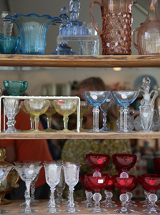 Heavily sought after by collectors, colored glassware from many eras is available in an array of hues and designs at flea markets and high-end stores alike.
