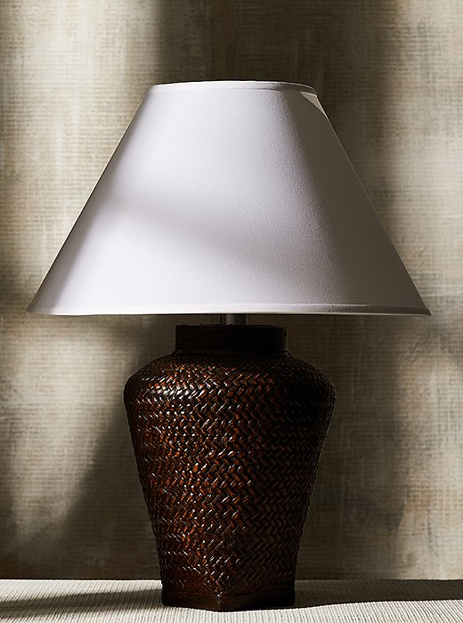 Available in three hand-rubbed finishes, the Positano lamp features a gorgeous basket-weave design fashioned in sturdy cement.