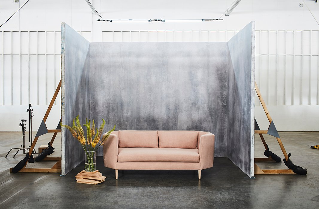 In blush linen, the Blythe sofa is as sophisticated as they come—feminine with a modern edge.