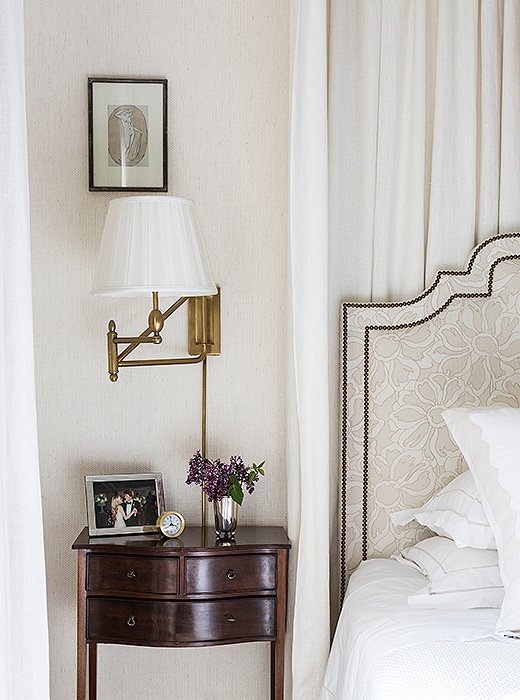 CeCe decked out the master bedroom in one of her favorite color palettes: a tonal mix of white and cream. The result is a restful escape in the heart of the city.
