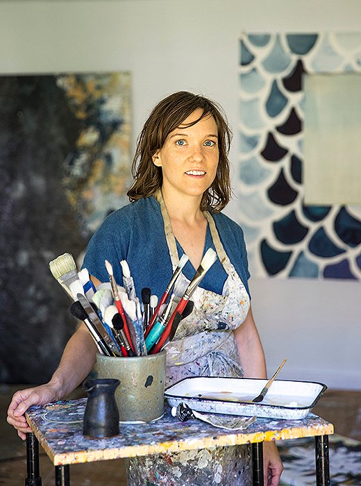 Artist Caroline Wright in her Austin home studio.