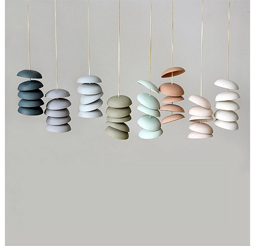 We're in love with the sleek yet organic shape of these wind chimes from Pigeon Toe Ceramics. Photo courtesy of Pigeon Toe Ceramics.