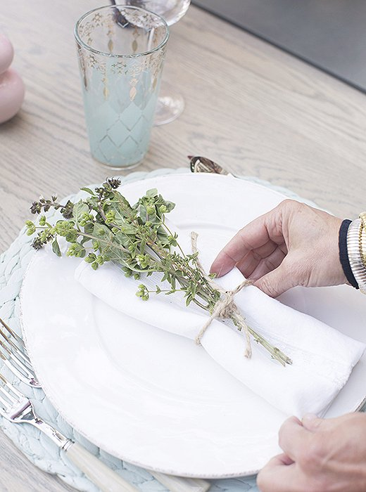 Herb bundles made for fragrant finishing touches to gorgeouswhite linens from Rachel Ashwell Shabby Chic Couture.