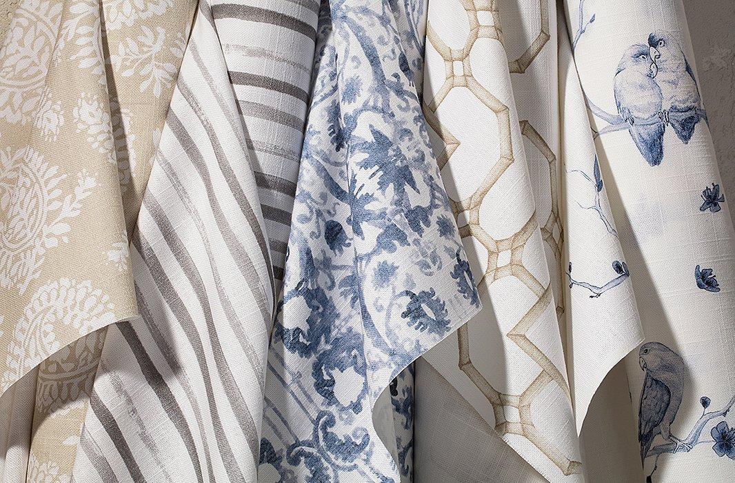 Patterns from left to right: Persian Batik in Beige, Flowing Stripes in Gray, Kaleidoscope in Blue, Bamboo Lattice in Beige, and Lovebirds in Blue.