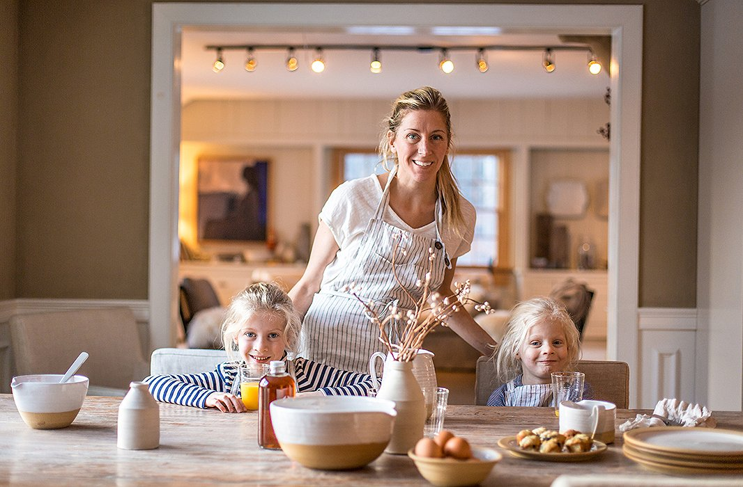 Zoe with daughters Ava and Mia at home in Vermont. Farmhouse Pottery is a true family business, with the girls often pitching in to help out at the studio.