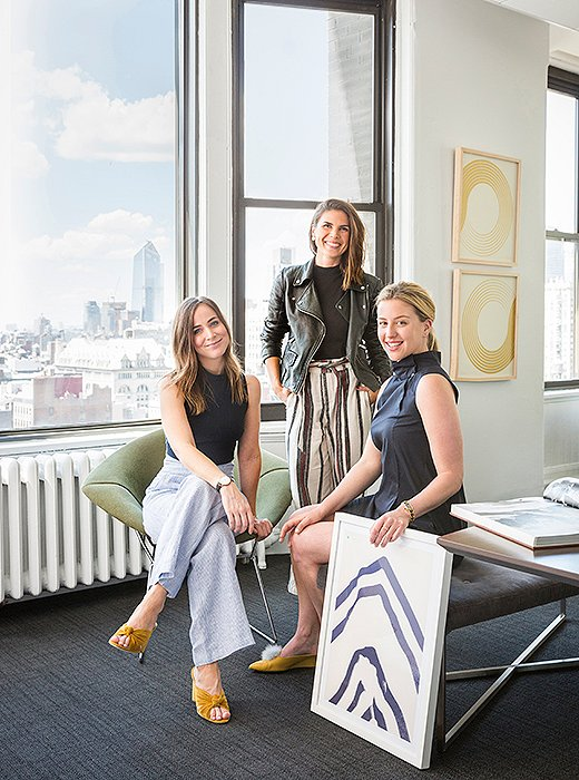 Sophie Miura, Gabrielle Savoie, and Sally Gotfredson in Clique Media Group's Manhattan office.