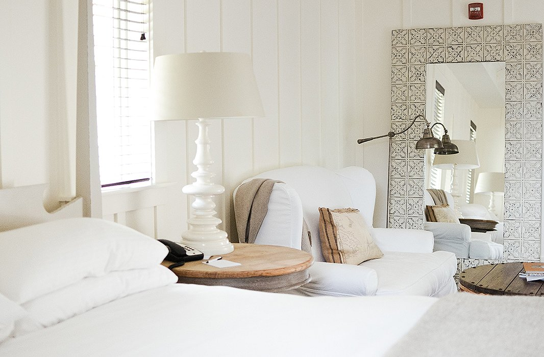 Reading nooks—or rather, wine-sipping nooks—come standard in rooms at the hotel.