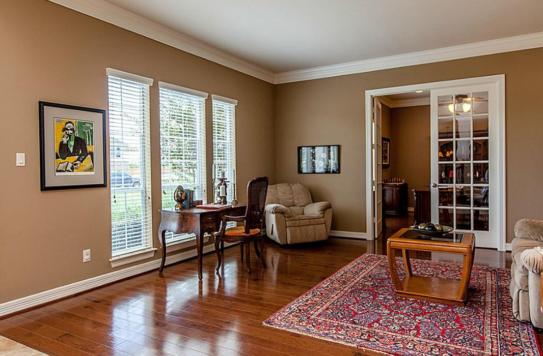A family room off the entry was bare and underutilized.