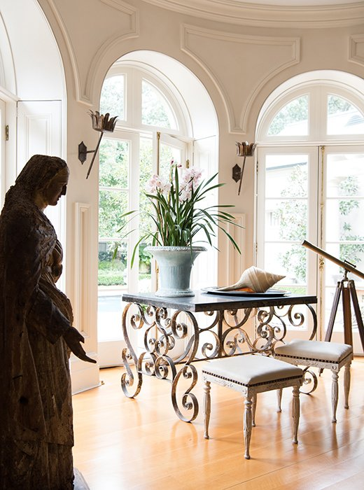 Timeless French Decorating Ideas {Tara Shaw}. Tara stood a statue from Avignon (probably 16th century worm-eaten and petrified in the back, she says) by the living room windows, which look out on a saltwater pool. Eighty trees line the property's perimeter, giving it a sense of privacy.