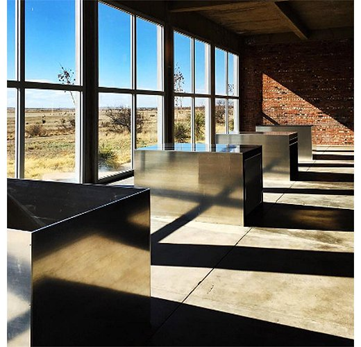Donald Judd's work on exhibit at the Chinati Foundation.