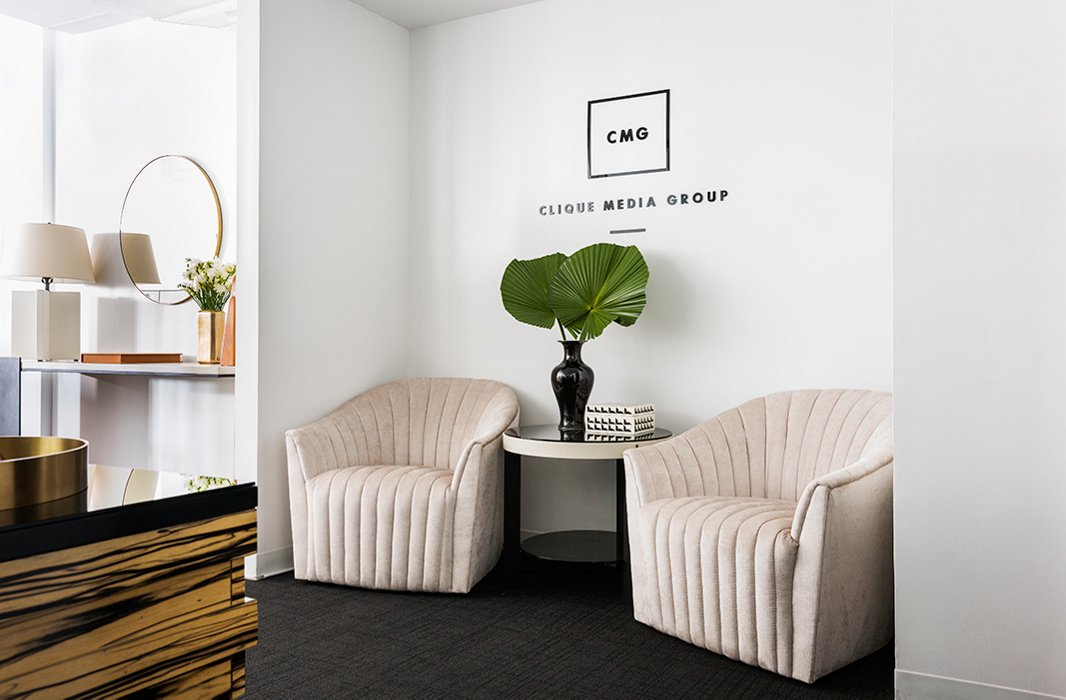 "Gabby and Sophie were open to taking a few risks in the name of great design. Case in point: the streamlined channel chairs in the entry. ""They bring so much personality,"" Sophie says. ""We weren't sure what they would look like in the space, [but] everyone [thinks] they're incredible."""