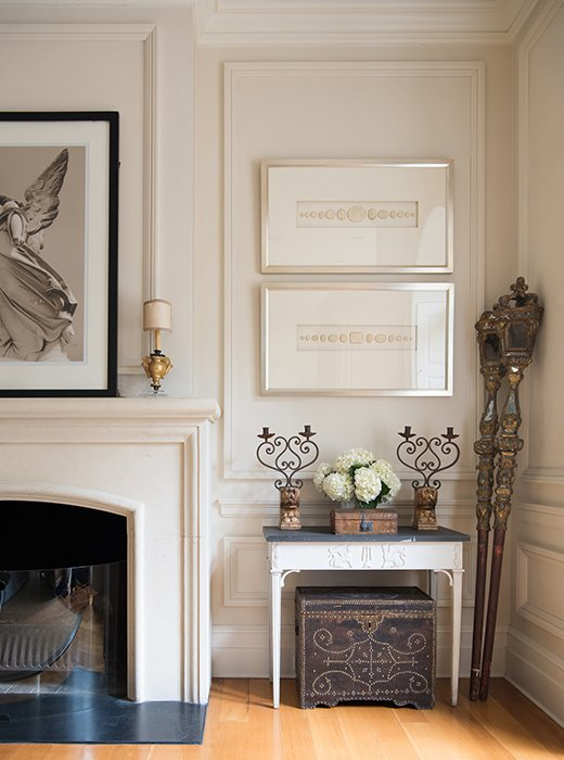 Timeless French Decorating Ideas {Tara Shaw}. Leaning casually along the right-hand wall are 18th-century processional batons, which Tara found in Italy. The lamps on the mantel were 18th-century urns that Tara converted to lamps, while the white console comes from her line, Tara Shaw Maison.