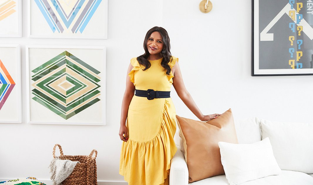 Mindy Kaling in her newly designed space.