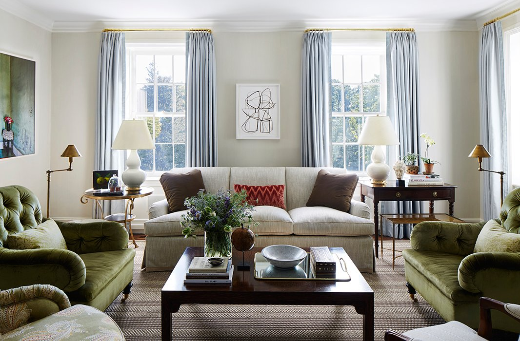"The palette of the home stemmed from the silvery blue Italian wool curtain fabric Suzanne and Lauren chose for the living room. ""It's soft yet sophisticated,"" says Lauren."