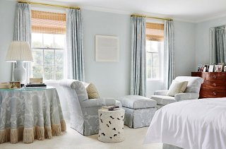 A Pale Blue Hand Painted Damask By Christopher Farr, A Fabric The Homeowner  Loved