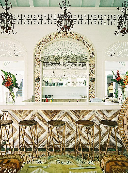 A bar at the Playa Grande Beach Club, which Celerie designed along with a series of small houses in the Dominican Republic and which she describes as a once-in-a-lifetime dream project. Photo by Patrick Cline.