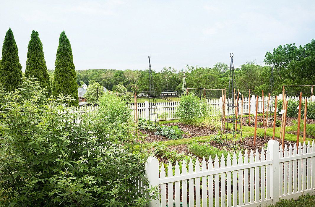 """Elizabeth's land originally had a """"ratty-looking garage"""" in this spot; they tore it down and realized it had been hiding a beautiful view of the Blue Ridge Mountains. Over the garage's footprint, they planted a vegetable bed."""