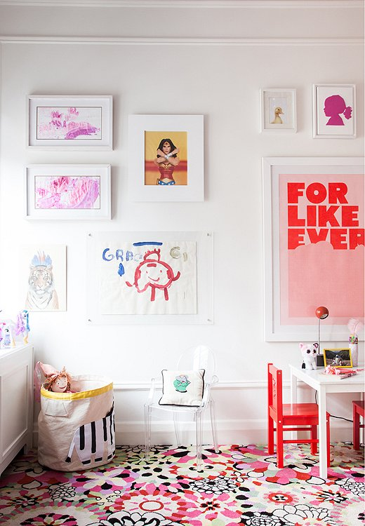 "From a vibrant Wonder Woman portrait to a sassy ""For Like Ever"" print, the artwork in oldest daughter Grace's room will transition with her from kid to tween to teen."