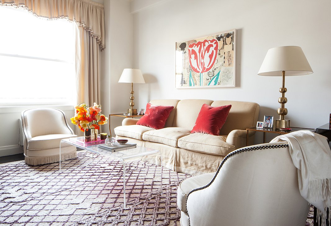 classically comfortable living room is a short haired moroccan rug