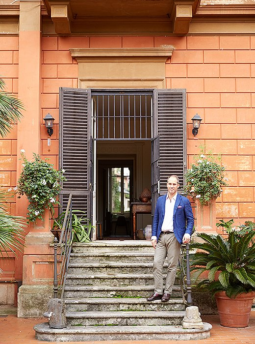 Peter on the steps to the garden behind the villa, which spans a hectare (just shy of two and a half acres).