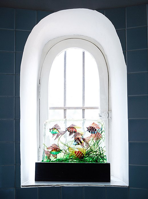 Peter collects aquarium-esque sculptures by Alfredo Barbini, a Venetian glass artist who worked in the 1940s and '50s.