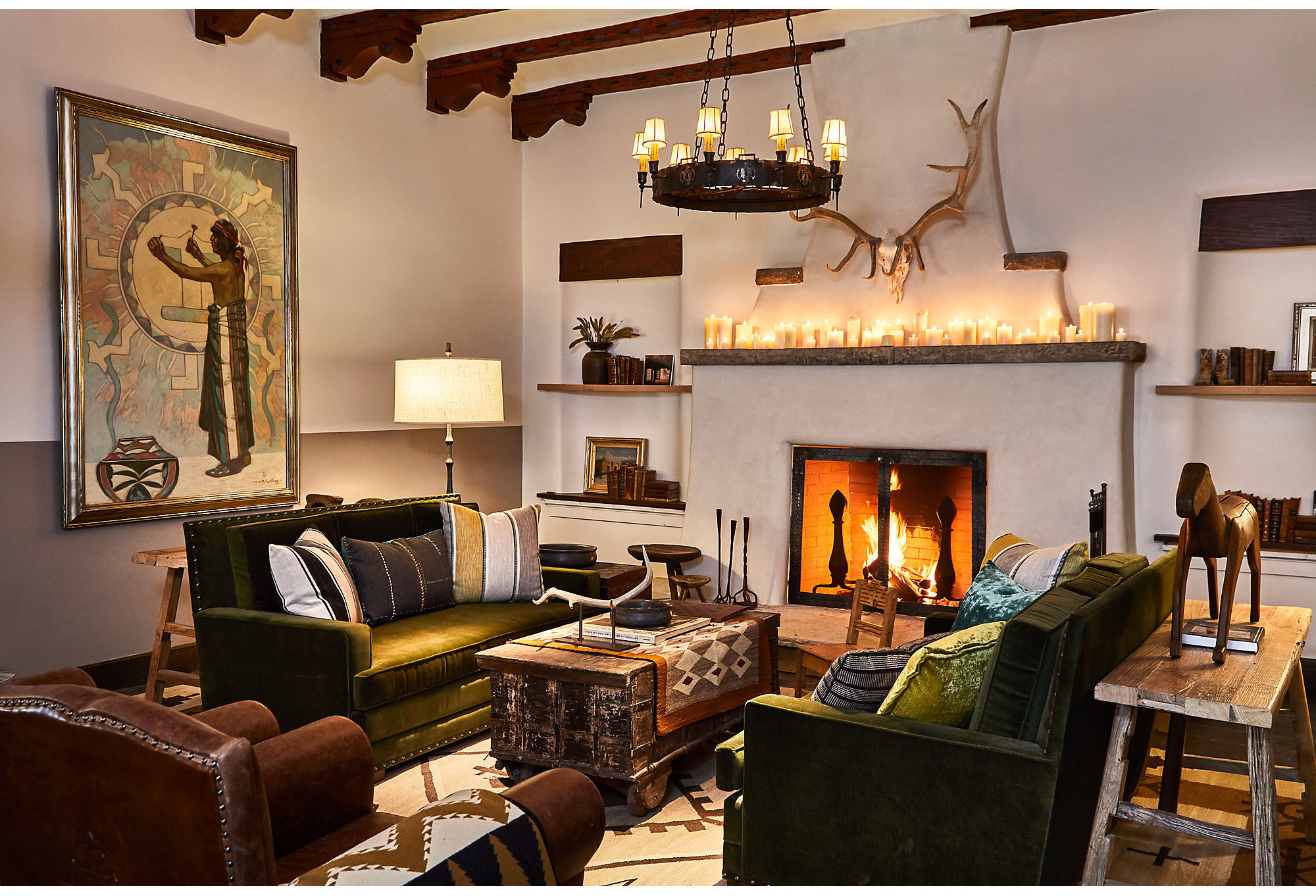 The living room of Bishop's Lodge is full of texture and nods to the surrounding history.