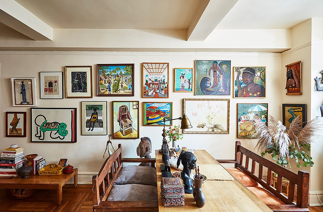 A wall of art features work by David Bowie and Keith Haring (both of whom were close friends of Hardison's) and a number of paintings from Haiti. Two Thai benches flank the desk and were once used in the office of Bethann Management, the modeling agency she ran for 12 years before closing it in 1996.