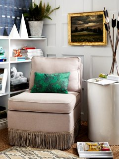 Good A Fringed Slipper Chair