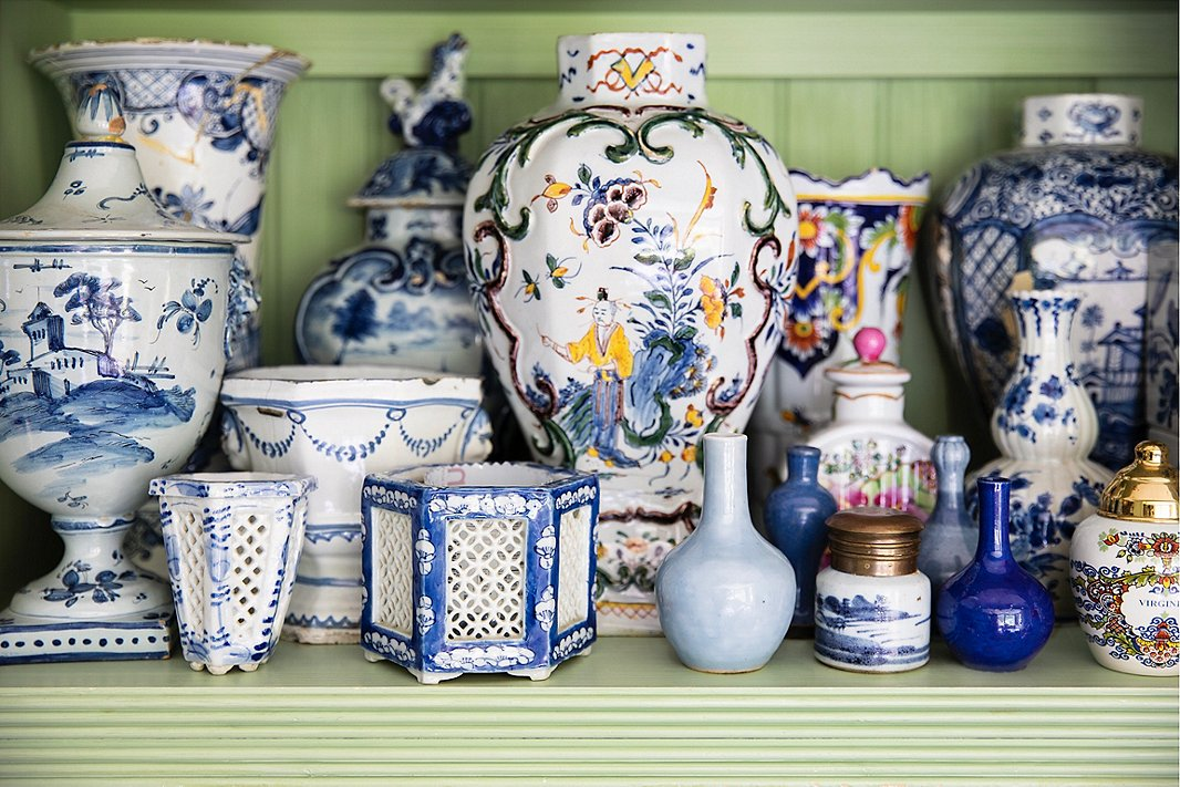 In her latest book,Charlotte Moss Flowers, the design doyenne shares some of her best advice for floral designing. Included among that advice is her idea that anything can be a vase if it holds water. Pictured here are a collection of vessels in her flower room. Photo courtesy of Rizzoli.