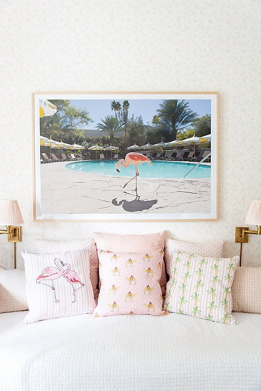 These pieces were made to mix and match, as Gray did in his daughter's room with the Flamingo Stripe and Palm Tree Stripe pillows.