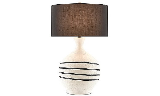 The Nabdean Table Lamp pairs a terracotta body and a shantung shade.
