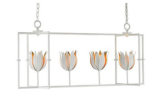 The Tulipano Rectangular Lantern is also available in a pendant version with just one tulip.