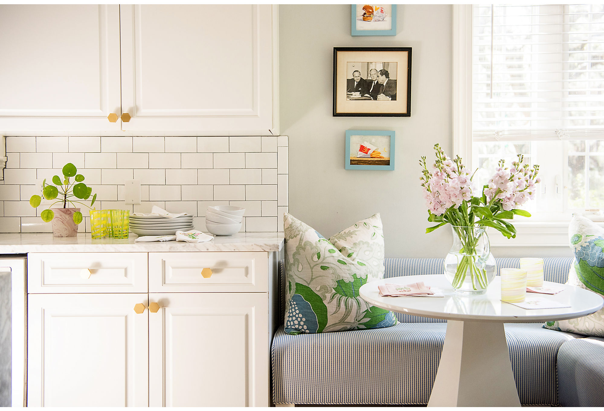 """The kitchen is smaller than Courtland would like, but that doesn't mean she and her family avoid it. """"We spend most of our time in that room. Stanley Steemer comes to clean a lot,"""" she says with a laugh."""