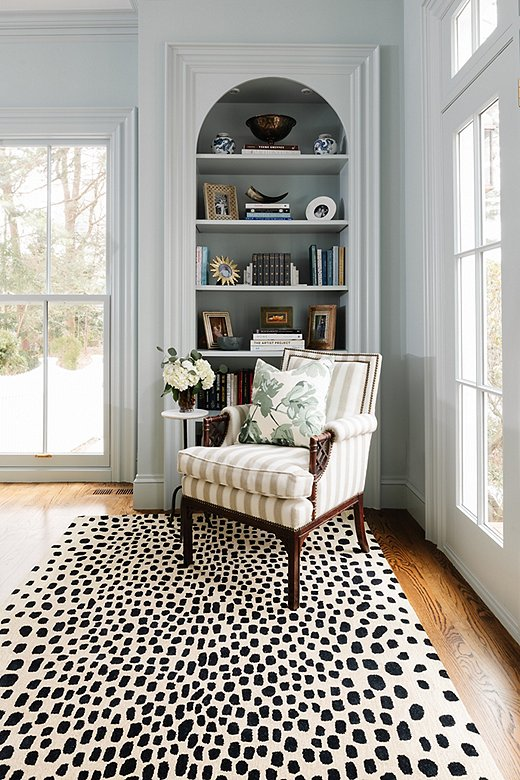 Erin shows her love of animal prints with multiple rugs in this collection, including Woodland Cheetah.