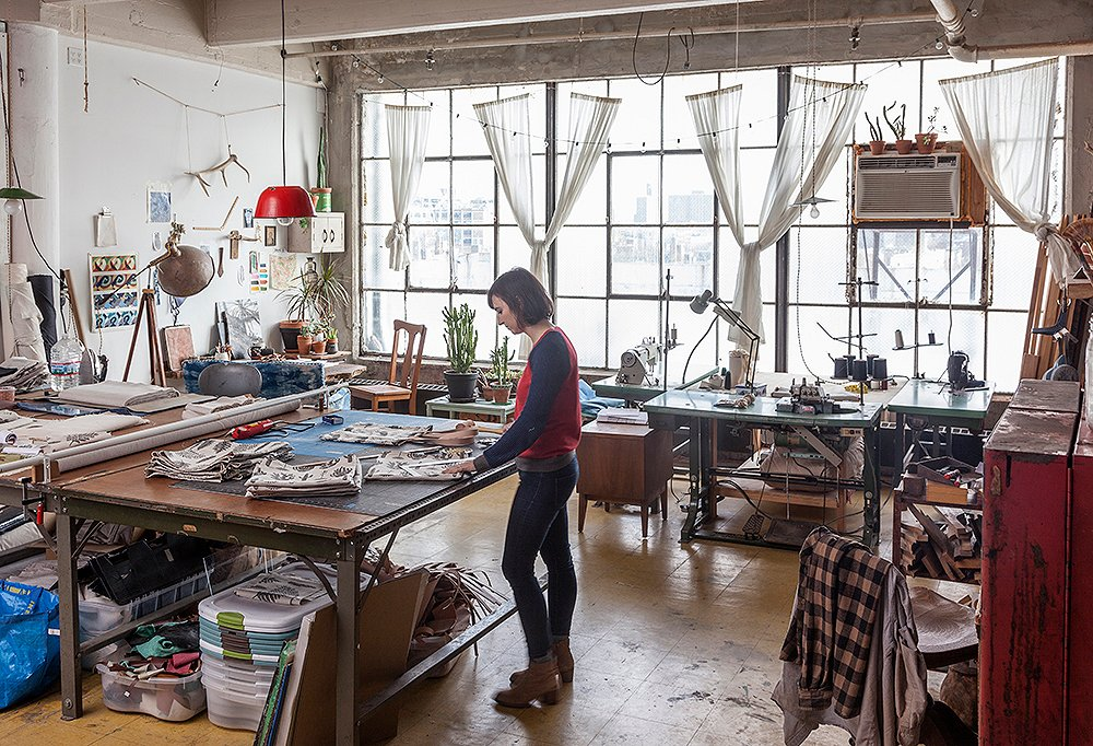 """Mancini's bright studio is a big part of her process. """"I need light and quiet, in abundant quantities,"""" she says."""