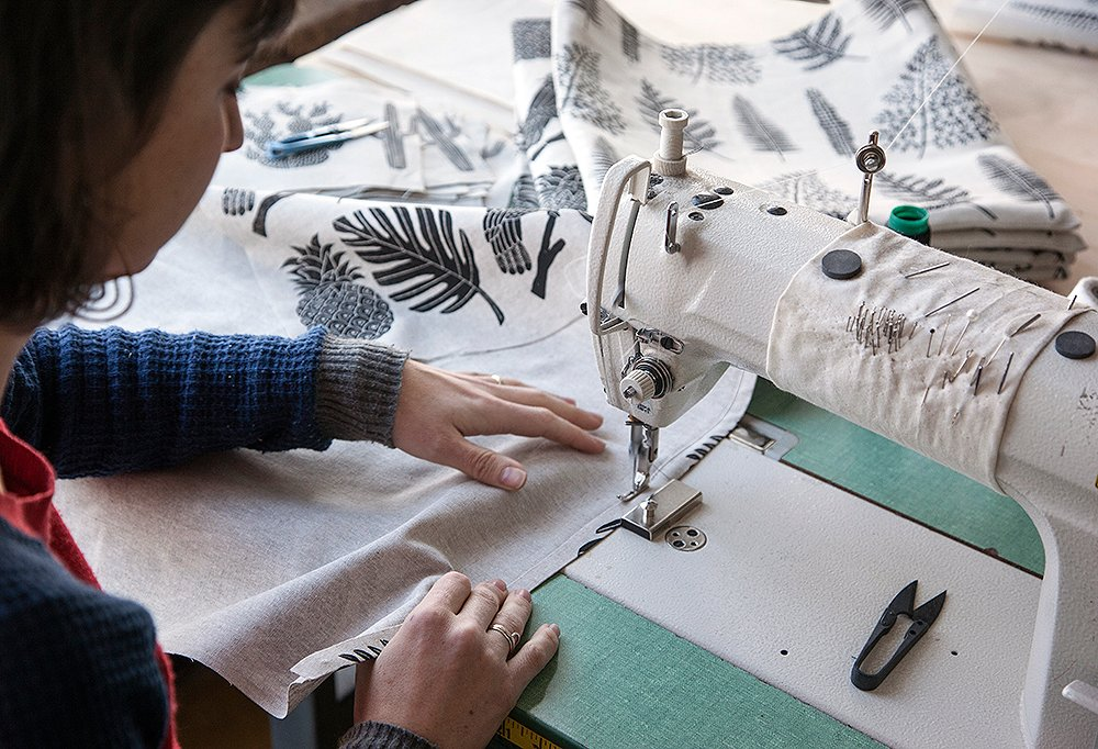 """Though she spends plenty of time on the sewing machine, Mancini keeps it simple when it comes to her materials. Her only real necessities? """"My iPhone and a few pencils."""""""