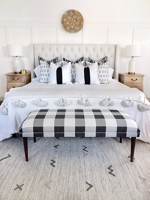 """Erin Broege, who blogs at the Heart and the Haven, supersized the gingham pattern on a bench to give it """"a twist on traditional."""" Photo courtesy of Erin Broege."""