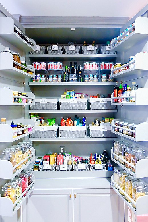 Labeled bins and clear jars are musts for any organized pantry—including that of actress Gwyneth Paltrow, shown above.